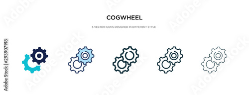 Fototapeta cogwheel icon in different style vector illustration. two colored and black cogwheel vector icons designed in filled, outline, line and stroke style can be used for web, mobile, ui obraz