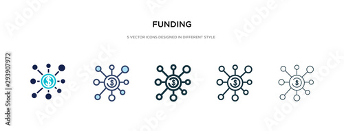 Fototapeta funding icon in different style vector illustration. two colored and black funding vector icons designed in filled, outline, line and stroke style can be used for web, mobile, ui obraz