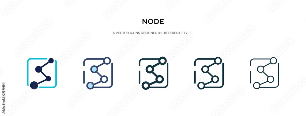 Fototapeta node icon in different style vector illustration. two colored and black node vector icons designed in filled, outline, line and stroke style can be used for web, mobile, ui