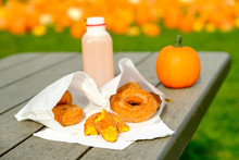 Bee Flying Towards Pumpkin And Apple Donuts; Apple Cider, Small Pumpkin, On Outdoor Table With Shallow DOF And Pumpkins In Background