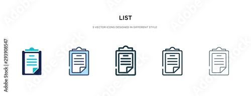 Fototapeta list icon in different style vector illustration. two colored and black list vector icons designed in filled, outline, line and stroke style can be used for web, mobile, ui obraz