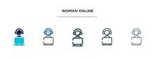 Woman Online Icon In Different...