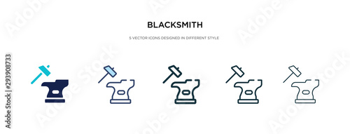 Fotomural blacksmith icon in different style vector illustration