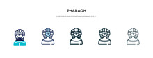 Pharaoh Icon In Different Style Vector Illustration. Two Colored And Black Pharaoh Vector Icons Designed In Filled, Outline, Line And Stroke Style Can Be Used For Web, Mobile, Ui