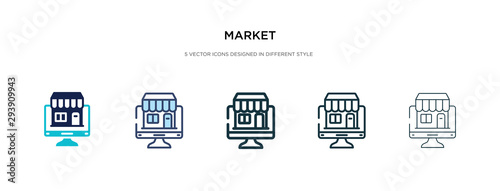 Photo  market icon in different style vector illustration