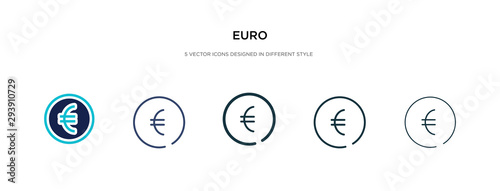 Fotomural euro icon in different style vector illustration