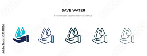 Valokuva save water icon in different style vector illustration