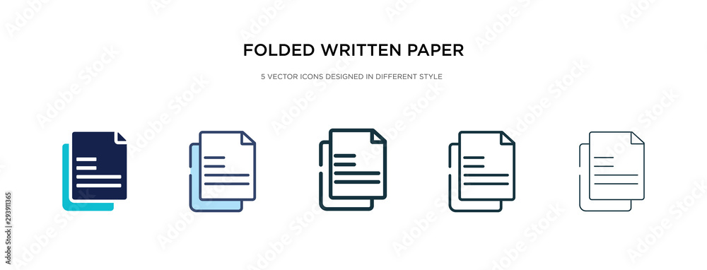 Fototapeta folded written paper icon in different style vector illustration. two colored and black folded written paper vector icons designed in filled, outline, line and stroke style can be used for web,