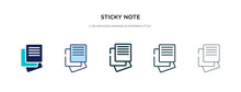 Sticky Note Icon In Different Style Vector Illustration. Two Colored And Black Sticky Note Vector Icons Designed In Filled, Outline, Line And Stroke Style Can Be Used For Web, Mobile, Ui