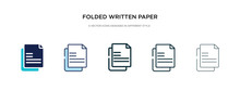 Folded Written Paper Icon In D...