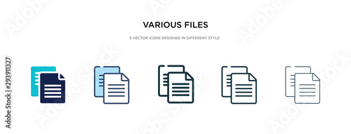 Fotografia various files icon in different style vector illustration