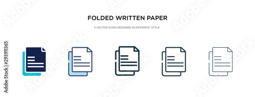 folded written paper icon in different style vector illustration. two colored and black folded written paper vector icons designed in filled, outline, line and stroke style can be used for web,