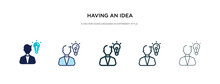 Having An Idea Icon In Different Style Vector Illustration. Two Colored And Black Having An Idea Vector Icons Designed In Filled, Outline, Line And Stroke Style Can Be Used For Web, Mobile, Ui
