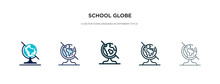 School Globe Icon In Different...