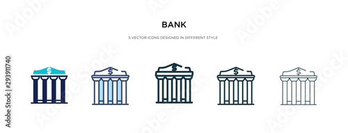 Carta da parati bank icon in different style vector illustration