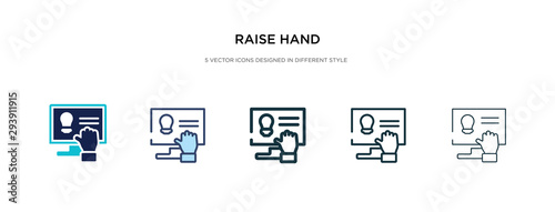 raise hand icon in different style vector illustration Wallpaper Mural