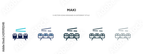 Fototapeta maki icon in different style vector illustration. two colored and black maki vector icons designed in filled, outline, line and stroke style can be used for web, mobile, ui obraz