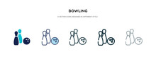Bowling Icon In Different Style Vector Illustration. Two Colored And Black Bowling Vector Icons Designed In Filled, Outline, Line And Stroke Style Can Be Used For Web, Mobile, Ui