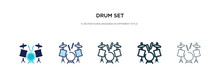 Drum Set Icon In Different Style Vector Illustration. Two Colored And Black Drum Set Vector Icons Designed In Filled, Outline, Line And Stroke Style Can Be Used For Web, Mobile, Ui