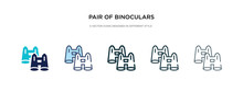 Pair Of Binoculars Icon In Different Style Vector Illustration. Two Colored And Black Pair Of Binoculars Vector Icons Designed In Filled, Outline, Line And Stroke Style Can Be Used For Web, Mobile,