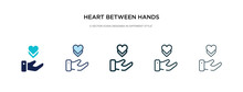 Heart Between Hands Icon In Different Style Vector Illustration. Two Colored And Black Heart Between Hands Vector Icons Designed In Filled, Outline, Line And Stroke Style Can Be Used For Web,