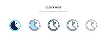 Clockwise Icon In Different Style Vector Illustration. Two Colored And Black Clockwise Vector Icons Designed In Filled, Outline, Line And Stroke Style Can Be Used For Web, Mobile, Ui