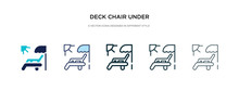 Deck Chair Under The Sun Icon In Different Style Vector Illustration. Two Colored And Black Deck Chair Under The Sun Vector Icons Designed In Filled, Outline, Line And Stroke Style Can Be Used For