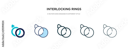 Fototapeta  interlocking rings icon in different style vector illustration