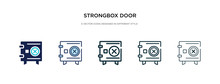 Strongbox Door Icon In Differe...