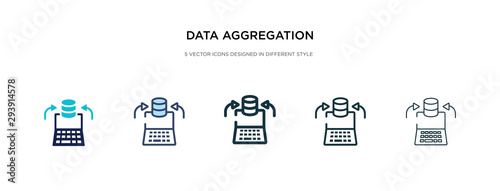Photo data aggregation icon in different style vector illustration