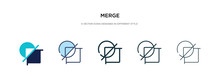 Merge Icon In Different Style Vector Illustration. Two Colored And Black Merge Vector Icons Designed In Filled, Outline, Line And Stroke Style Can Be Used For Web, Mobile, Ui
