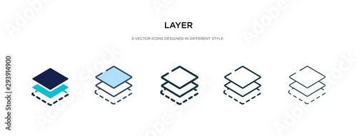layer icon in different style vector illustration Wallpaper Mural