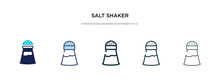 Salt Shaker Icon In Different Style Vector Illustration. Two Colored And Black Salt Shaker Vector Icons Designed In Filled, Outline, Line And Stroke Style Can Be Used For Web, Mobile, Ui