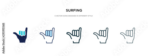 surfing icon in different style vector illustration Wallpaper Mural