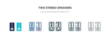 Two Stereo Speakers Icon In Di...