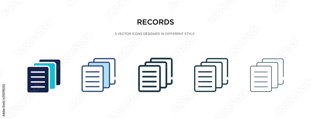 Fototapeta records icon in different style vector illustration. two colored and black records vector icons designed in filled, outline, line and stroke style can be used for web, mobile, ui