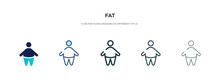 Fat Icon In Different Style Vector Illustration. Two Colored And Black Fat Vector Icons Designed In Filled, Outline, Line And Stroke Style Can Be Used For Web, Mobile, Ui