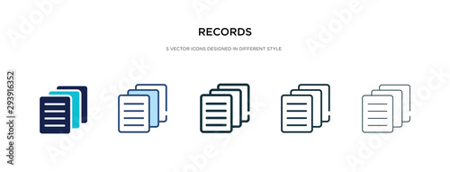 Fototapety, obrazy: records icon in different style vector illustration. two colored and black records vector icons designed in filled, outline, line and stroke style can be used for web, mobile, ui