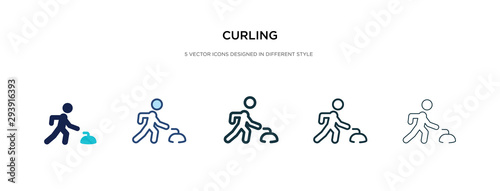 Leinwand Poster curling icon in different style vector illustration