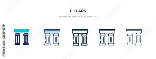 Cuadros en Lienzo pillars icon in different style vector illustration