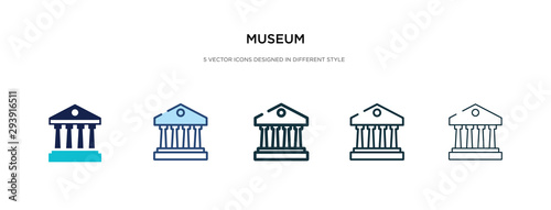 Fotomural museum icon in different style vector illustration