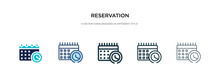 Reservation Icon In Different Style Vector Illustration. Two Colored And Black Reservation Vector Icons Designed In Filled, Outline, Line And Stroke Style Can Be Used For Web, Mobile, Ui
