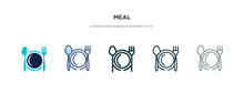 Meal Icon In Different Style Vector Illustration. Two Colored And Black Meal Vector Icons Designed In Filled, Outline, Line And Stroke Style Can Be Used For Web, Mobile, Ui