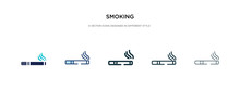 Smoking Icon In Different Style Vector Illustration. Two Colored And Black Smoking Vector Icons Designed In Filled, Outline, Line And Stroke Style Can Be Used For Web, Mobile, Ui