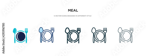 Fototapeta meal icon in different style vector illustration. two colored and black meal vector icons designed in filled, outline, line and stroke style can be used for web, mobile, ui obraz