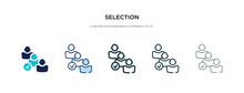 Selection Icon In Different Style Vector Illustration. Two Colored And Black Selection Vector Icons Designed In Filled, Outline, Line And Stroke Style Can Be Used For Web, Mobile, Ui