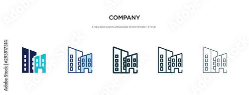 company icon in different style vector illustration. two colored and black company vector icons designed in filled, outline, line and stroke style can be used for web, mobile, ui - fototapety na wymiar