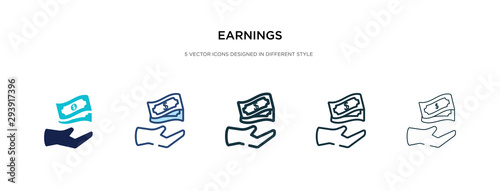 Fototapeta earnings icon in different style vector illustration. two colored and black earnings vector icons designed in filled, outline, line and stroke style can be used for web, mobile, ui obraz