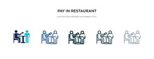 Pay In Restaurant Icon In Different Style Vector Illustration. Two Colored And Black Pay In Restaurant Vector Icons Designed Filled, Outline, Line And Stroke Style Can Be Used For Web, Mobile, Ui
