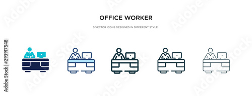 Obraz office worker icon in different style vector illustration. two colored and black office worker vector icons designed in filled, outline, line and stroke style can be used for web, mobile, ui - fototapety do salonu